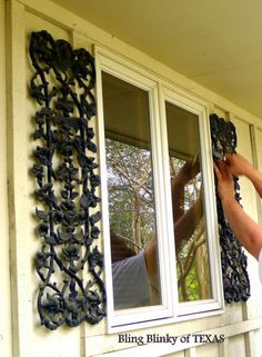 Vintage Wrought Window Iron Roses Ornamental Artsy Shabby Shiek Wall Decor Loft Condo