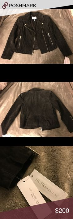BCBG Genuine Suede Moto Jacket, Size M Super cute chocolate brown moto jacket!! Bought it a month ago and it ended up being too big but I can't return it anymore. Perfect going out jacket for the winter! Never been worn before, new with tags. BCBGeneration Jackets & Coats