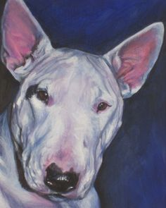 8x10 inch Bull Terrier flat GICLEE CANVAS print by L.A.Shepard  ABOUT THE PRINT:  This open edition image measures 8x10 inches and is printed on 8.5x11 CANVAS sheet with archival inks.  I use a specially designed CANVAS for archival fine art prints. Your Giclee print will come on a very high quality flat Canvas sheet, looking like the original painting, and can be framed easily in a standard frame with a backing, with or without glass.  Print is hand signed by the artist on the front border…
