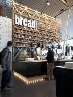 r last-minute gifts in Amsterdam's Schiphol airport need not venture far – a new space includes a cheese counter, bread shop, restaurant, plus flower store in one area. Exuding a quintessentially Dutch vibe, the project is rooted in Restaurant Design, Architecture Restaurant, Café Restaurant, Bakery Design, Cafe Design, Store Design, Wood Design, House Design, Cafe Bar