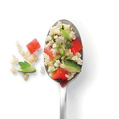 Bulgur provides an excellent base for the vibrant colors and crisp flavors of the tomatoes and cucumbers in Tabbouleh-Style Bulgur. Vegan Vegetarian, Vegetarian Recipes, Healthy Recipes, Bulgur Recipes, Good Food, Yummy Food, Tasty, Cooking Photos, Cooking Light
