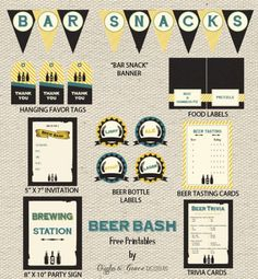 How about throwing a beer tasting party with these free printables? The collection includes: invitations (that you can type your own text into), beer tasting cards, beer bottle labels (in two sizes), beer trivia cards, a