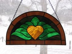 Stained Glass Heart Window Panel