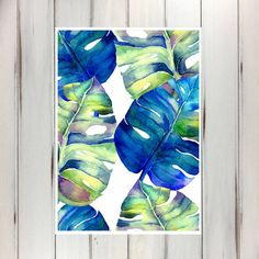 Watercolour Palm Leaves Blue Green Pair Printable by NeatInteriors
