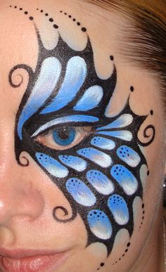 Blue Mechanical Butterfly (Face Painting) by Catherine Pannulla