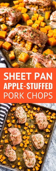Sheet Pan Apple Stuffed Pork Chops with Butternut Squash -- these stuffed pork chops are SO easy! Filled with a savory apple mixture, baked. Pork Recipes For Dinner, Easy Pork Chop Recipes, Delicious Dinner Recipes, Beef Recipes, Whole30 Recipes, Cooking Recipes, Yummy Food, Healthy Recipes, Apple Pork Chops