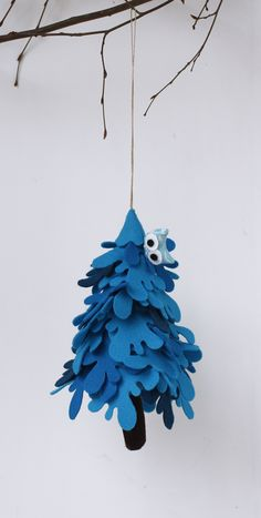 Blue Fir Tree Christmas, with owl Ornament ,to hang ,Felt Christmas decorations  #felt #christmas #ornaments #tree #blue #hanging #christmastime #decor
