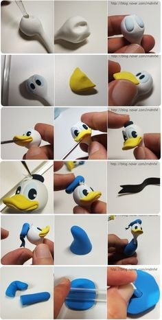 Turorial : How to make Donald Duck clay / Tutoriel : Réaliser Donald en pâte polymère source : http://blog.naver.com/rndmfxl