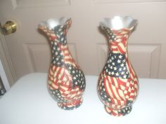 Beautiful Vase in ARTHURHOUSE's Garage Sale HOUSTON, TX for a $9.00. 2 vases red white and blue in color, excellent item to use for 4th of July functions or for another colorful occaction