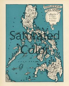 Vintage printable map philippines instant download digital philippines map digital download vintage picture map diy print frame 8x10 orfor pillows totes publicscrutiny Images