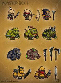 Monster Cartoon RPG Characters 1   GameDev Market