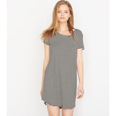 Striped T-Shirt Dress ($33) ❤ liked on Polyvore featuring dresses, white dress, white tee shirt dress, tshirt dress, striped t shirt dress and striped dress