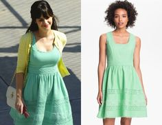 Zooey Deschanel was seen filming New Girl yesterday in a sweet springtime outfit - a vintage style mint green dress with crocheted insets and scalloped trim paired with a daffodil yellow colored cardi. Jessica Simpson Basket Weave Fit and Flare Dress - $138also available from Dillard's Look for Less: Delia's Abby Solid Dress in Mint - $34.50