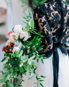 Our bride in a stunning black lace top and white tulle skirt carried a bouquet composed of similar garden florals in a loose organic design. (Venue: @villaandvine Design Coordination Floral Artistry: @burlapandbordeaux Photography: @stevenleyvaphoto Vintage Furniture Rentals & Styling: @mylovelyevents @remii3 Tabletop & Chair Rentals: @venturarental Linens: @dreamsamerica Model: #RemingtonCarillo Bridal Top: Private Collection Bridal Skirt: #ChristianneTaylor Jewelry: @c2ccollectionsb Hair…