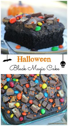 Halloween Black Magic Candy Cake is such a fun cake for the kids to help bling out with candy galore. You'll have a spooktacular Halloween with this Halloween Black Magic Candy Cake!  The ultra-dark, ultra moist cake is to die for! Muahahaha!  via @https://www.pinterest.com/BaknChocolaTess/