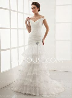 Wedding Dresses - $199.39 - A-Line/Princess Off-the-Shoulder Sweep Train Organza Wedding Dress With Lace Crystal Brooch (002012925) http://jjshouse.com/A-Line-Princess-Off-The-Shoulder-Sweep-Train-Organza-Wedding-Dress-With-Lace-Crystal-Brooch-002012925-g12925