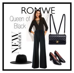 """ROMWE Queen of Black"" by eveliine-ursu on Polyvore featuring Dolce&Gabbana, Chanel and Études"