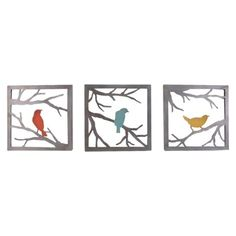 """Birds on Branch 3 Piece (11x11"""")  [Might be fun to try to do on the cheap with cardboard/wood and metallic paint.]"""