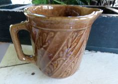 Old Vintage Western Stoneware / Monmouth Pottery Milk Pitcher Stoneware Fern USA #WesternStonewareMonmouthpottery