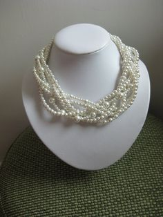 FREE SHIPPING - White Pearl Wedding Necklace, Multi strand Necklace, Twisted Necklace, Wedding Jewelry, Bridal Jewelry. $29.00, via Etsy.