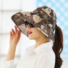 High-quality Women Ladies Summer Outdoor Gardening Anti-UV Foldable Beach Sunscreen Sun Hat Flower Print Cap - NewChic Mobile version.