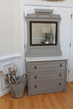 Vintage Dresser with Attached/Removable Mirror - Annie Sloan Chalk Paint - French Linen - Marble Top by InteriorsWithAStory on Etsy https://www.etsy.com/listing/286187247/vintage-dresser-with-attachedremovable
