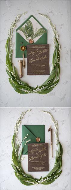 Emerald green calligraphy lily wedding invitations #weddings #weddinginvitations #weddingideas