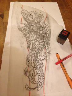 Customer Phönix Tattoo Sketch by Sayoku Irezumi Mirko Linke