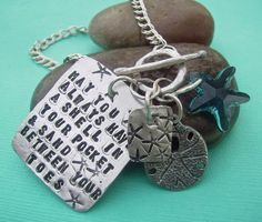 Scriptz BEACH theme Charm Bracelet - hand stamped sterling silver - may be custom personalized on Etsy, $65.00