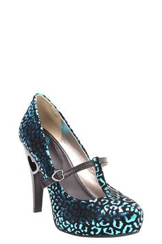 T.U.K. - Turquoise Leopard T-Strap Platinum Platform Heels