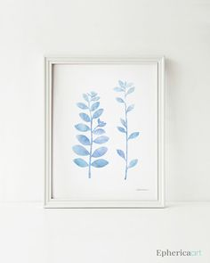 Nursery wall decor, Pastel color Illustration print, Blue leaf branches Light Blue Nursery art, Baby room decoration, Digital print. EphericaArt.etsy.com