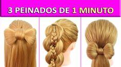 3 Peinados Faciles y Rapidos y Bonitos - Semirecogidos con Trenzas Lazo ...