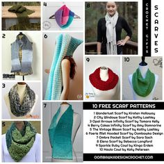 Crochet scarves make the perfect gifts! I have included 10 Free Scarf Pattern Links below for a variety of styles of scarves, infinity scarves and cowls. Crochet Cap, Crochet Round, Crochet Gifts, Crochet Scarves, Crochet Shawl, Single Crochet, Free Crochet, Scarf Patterns, Crochet Patterns