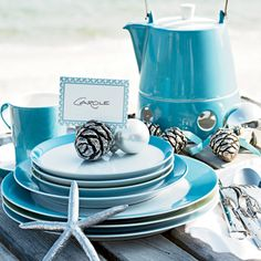 Try fresh colors like coastal blue for your holiday table setting. For more holiday decorating ideas, visit www.coastalliving.com