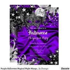 Shop Pink Halloween Magical Night Masquerade Party Invitation created by Zizzago. Masquerade Party Invitations, Bachelorette Party Invitations, Halloween Party Invitations, Quinceanera Invitations, Creepy Halloween Party, Purple Halloween, Halloween Masquerade, Masquerade Masks, Artist Card