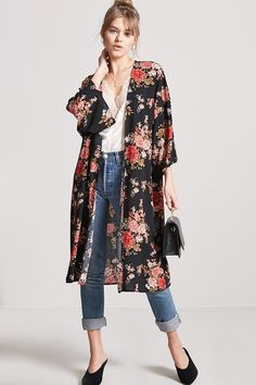 Kimono stylish in 2019 blaues kleid, kleider, blau. Long Kimono Outfit, Look Kimono, Kimono Style, Kimono Fashion, Love Fashion, Fashion Dresses, Womens Fashion, Fashion Trends, Dress Over Jeans