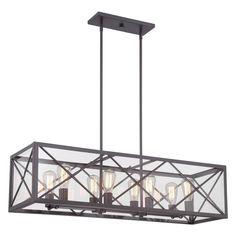 Eight side-by-side lights and a box frame design make this linear chandelier a dramatic choice for your dining room or grand kitchen.