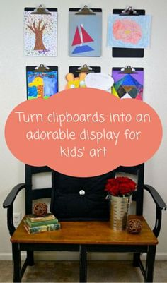 Turn clipboards into an adorable display for kids' art http://www.hometalk.com/l/fvq