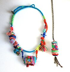 Colorful Moments.  2 necklaces, colorful, crazy, bohemian, statement, ooak, art, cork. Free shipping