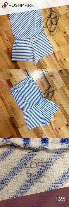 Ann Taylor Loft Beach Strapless Romper size S Ann Taylor Loft Beach Blue & Off White Terry Cloth Strapless Romper size S Ann Taylor Shorts
