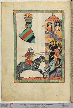 A scene of warfare from a medieval heraldry codex. A knight chases a mounted archer into a city, where men drop rocks on the knight. Codex Manesse, Kristan von Luppin, eine Thüring, Fol 226v, c. 1304-1340