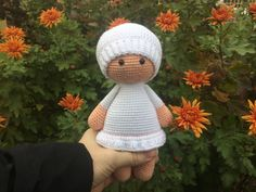 Amigurumi dolls Crochet white doll Knitted doll toys Gute doll