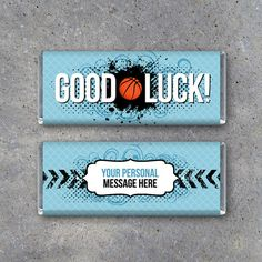Basketball GOOD LUCK Candy Bar Wrappers for game day locker treats! Printable wrappers in your team colors with your personal message on the back! By Studio 120 Underground, $10.