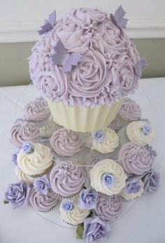 Lilac wedding cupcake tower