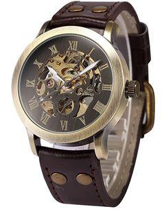 Nice!   AMPM24 Herrenuhr Automatik Uhr Skelettuhr Kunstleder Armbanduhr + AMPM24 Geschenkbox PMW198