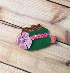 A personal favorite from my Etsy shop https://www.etsy.com/listing/175834643/sale-babychildgirls-felt-hair-clip-st
