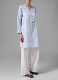 PLUS Linen Clothing - Shop our selection of tunic at Vivid Linen. Long Tops, Long Sleeve Tops, Miss Me Outfits, Plus Clothing, Mature Fashion, Long Blouse, Linen Dresses, Casual Elegance, Plus Size Blouses