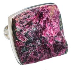 Large Rough Russian Eudialyte 925 Sterling Silver Ring Size 7.75 RING784777
