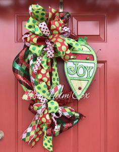 JOY Christmas wreath, grapevine