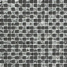 30x30cm Black Crackle And Plain Glass Mosaic Tiles Sheet (MT0043)